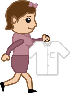 Going To Iron A Shirt - Vector Character Cartoon Illustration