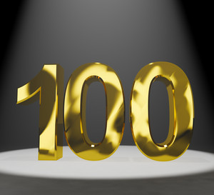 Gold 100th Or One Hundred 3d Number Closeup Representing Anniversary Or Birthday