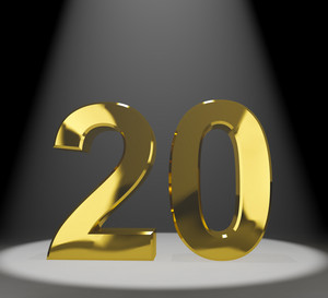 Gold 20th Or Twenty 3d Number Representing Anniversary Or Birthday