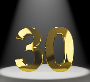 Gold 30th Or Thirty 3d Number Closeup Representing Anniversary Or Birthday