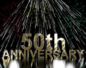 Gold 50th Anniversity With Fireworks For Fiftieth Celebration Or Party