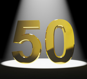 Gold 50th Or Fifty 3d Number Closeup Representing Anniversary Or Birthday
