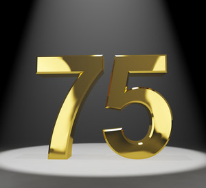 Gold 75th Or Seventy Five 3d Number Closeup Representing Anniversary Or Birthday