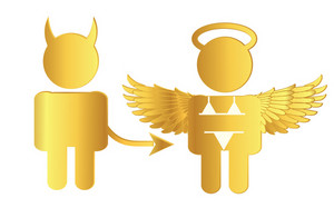 Gold Angel And Devil