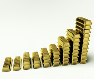 Gold Bars Graph As Symbol For Increasing Wealth Or Treasure