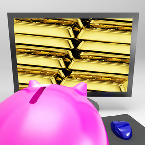 Gold Bars Screen Shows Shiny Valuable Treasure