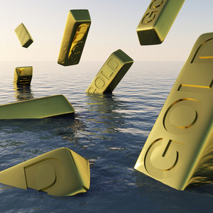 Gold Bars Sinking  Showing Depression Recession And Economic Downturn