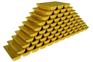 Gold Bars Stock Pile