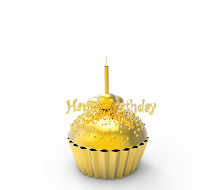 Gold Birthday Cupcake