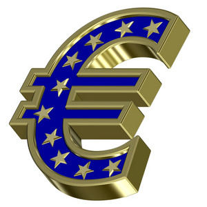 Gold-blue Euro Sign With Stars Isolated On White
