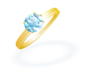Gold Brilliant Ring. Vector