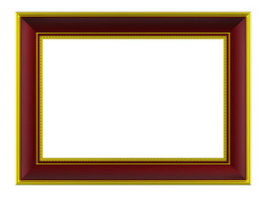 Gold-brown Rectangular Frame Isolated On White Background.