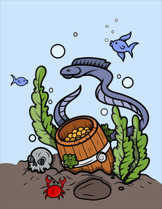 Gold Coin Barrel Under The Sea - Vector Cartoon Illustration