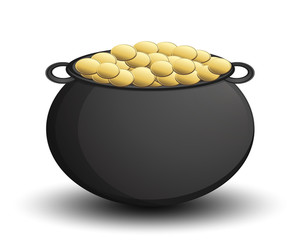 Gold Coins Cauldron Vector Object