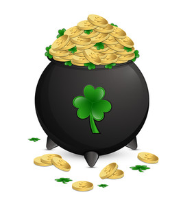 Gold Coins Patrick's Day Cauldron Vector Illustration