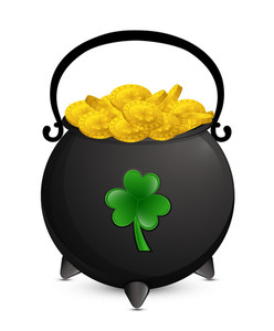 Gold Coins Shamrock Cauldron