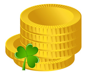 Gold Coins Shamrock Vector