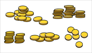 Gold Coins Stack - Cartoon Vector Illustration