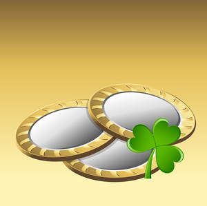 Gold Coins With Clover Leaf