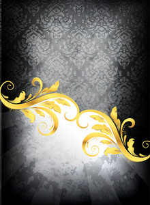 Gold Damask Background Vector Illustration