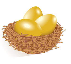 Gold Eggs In The Nest. Vector.