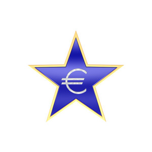 Gold Euro Sign In The Star Isolated On White.