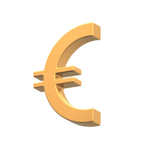 Gold Euro Sign Isolated On White.
