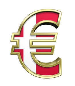 Gold Euro Sign With Danish Flag Isolated On White.