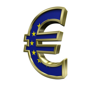 Gold Euro Sign With European Union Flag Isolated On White.