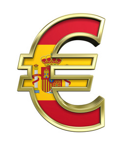 Gold Euro Sign With Spain Flag Isolated On White.