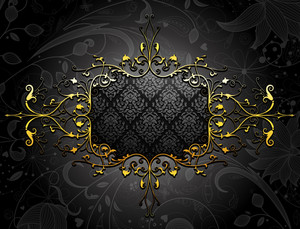 Gold Floral Frame Vector Illustration
