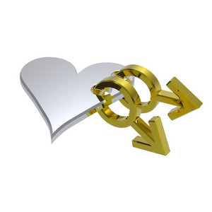 Gold Gay Sex Symbol Linked With Silver Heart.