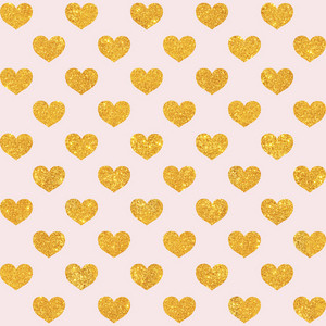 Gold Glitter Hearts Pattern On A Light Pink Background