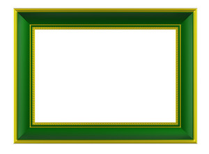 Gold-green Rectangular Frame Isolated On White Background.
