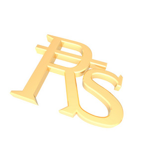 Gold Indian Rupees Sign Isolated On White.