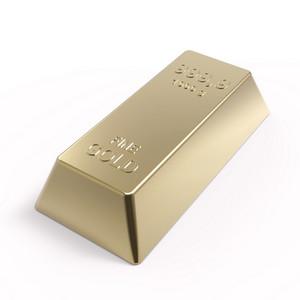 Gold Ingot Isolated On White.