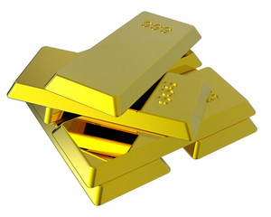 Gold Ingots Isolated On White.