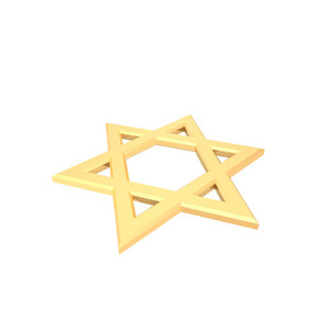 Gold Judaism Religious Symbol - Star Of David Isolated On White.