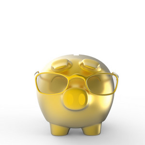 Gold Nerd Piggy Bank