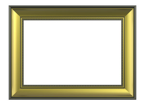 Gold-olive Color Horizontal Picture Frame Isolated On White Background.