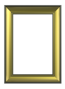 Gold-olive Color Vertical Picture Frame Isolated On White Backgr