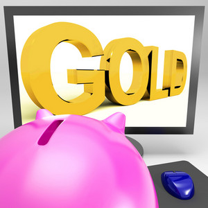 Gold On Monitor Shows Wealth
