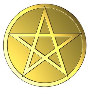 Gold Pentagram Isolated On White.