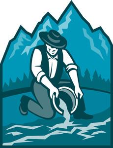 Gold Prospector Miner Pan Retro
