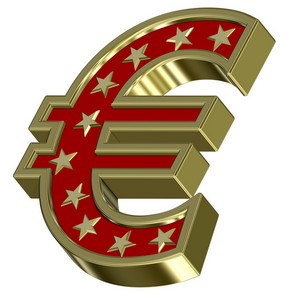 Gold-red Euro Sign With Stars Isolated On White