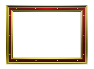 Gold-red Frame Isolated On White Background