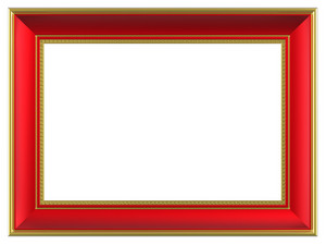 Gold-red Rectangular Frame Isolated On White Background.
