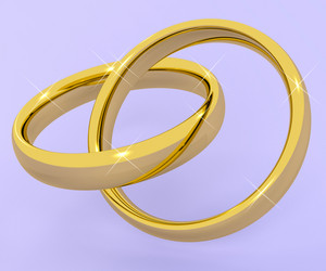Gold Rings Representing Love Valentine And Romance