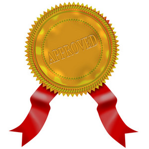 Gold Seal Red Ribbon Approved
