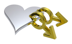 Gold Sex Symbols Linked With Silver Heart.